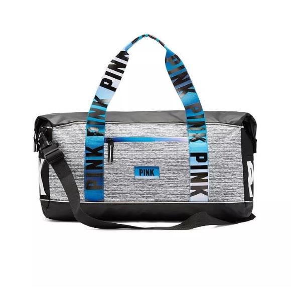 Blue Grey Ombré Straps VS Pink Duffle Tote Bag 9f930a1794886